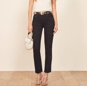 Reformation Ultra High Rise Stevie Jeans. Straight Cut, Size 31, Black.